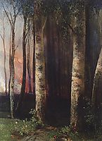 Fire in woods, 1883, savrasov