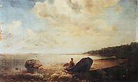 Landscape with boat, c.1860, savrasov