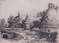 Landscape with Church and the ruins, 1861, savrasov