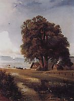 Landscape with a farm near Lake, c.1890, savrasov