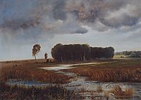 Landscape with marsh and wooded islands, c.1870, savrasov