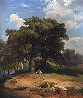 Landscape with oak trees and shepherd, c.1860, savrasov