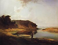 Landscape with a River and an Angler, 1859, savrasov