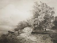 Old oak tree at the cliff above the river, 1857, savrasov