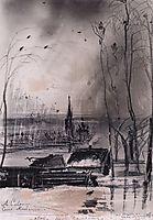 Rooksarrived.LandscapewithChurch, 1894, savrasov