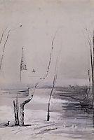 Sketchofthe paintingmigratory birds have come, 1871, savrasov