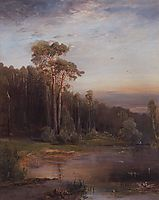 Summer landscape with pine trees near the river, 1878, savrasov
