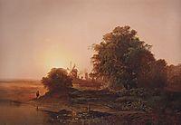 Summer landscape with windmills, 1859, savrasov