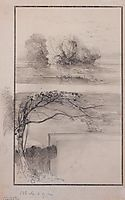 Trees near the water.Branches of trees, c.1870, savrasov