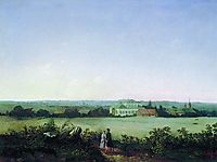 Type in the outskirts of Moscow to the manor and two female figures, 1850, savrasov