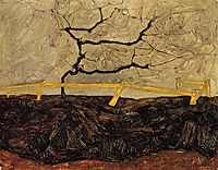 Bare Tree behind a Fence, 1912, schiele