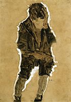 Boy with Hand to Face, 1910, schiele