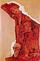 Composition with Three Male Figures (Self Portrait), 1911, schiele