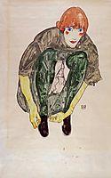 Crouching Figure (Valerie Neuzil), 1913, schiele