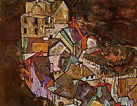 Edge of Town (Krumau Town Crescent), 1918, schiele