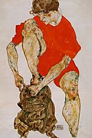 Female Model in Bright Red Jacket and Pants, 1914, schiele