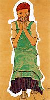 Girl with Green Pinafore, 1910, schiele