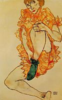 The Green Stocking, 1914, schiele