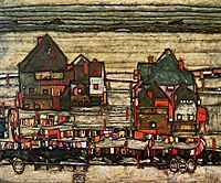 Houses with Laundry (Seeburg), 1914, schiele