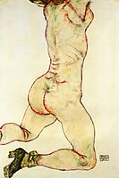 Kneeling Female Nude, Back View, 1915, schiele