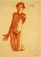 Kneeling Young Man, 1908, schiele