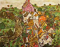 Landscape at Krumau, 1916, schiele