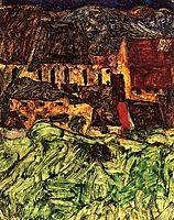 Meadow, Church and Houses, 1912, schiele