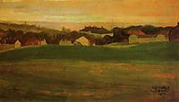 Meadow with Village in Background, 1907, schiele