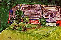 Peasant Homestead in a Landscape, 1913, schiele