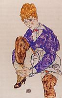 Portrait of the Artist-s Wife Seated, Holding Her Right Leg, 1917, schiele