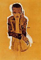 Portrait of Eduard Kosmack with Raised Left Hand, 1910, schiele
