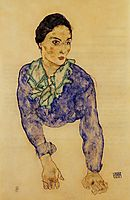 Portrait of a Woman with Blue and Green Scarf, 1914, schiele