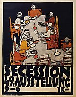 Poster for the Vienna Secession, 49th Exhibition, Die Freunde, 1918, schiele