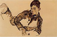 Reclining Boy Leaning on His Elbow, 1917, schiele