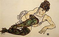 Reclining Woman with Green Stockings (Adele Harms), 1917, schiele