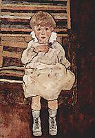 Seated child, 1918, schiele
