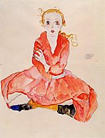 Seated Girl Facing Front, 1911, schiele