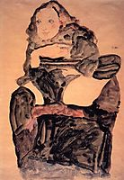 Seated Girl with Raised Left Leg, 1911, schiele