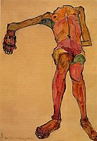 Seated Male Nude, Right Hand Outstretched, 1910, schiele