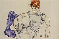 Seated Woman in Violet Stockings, 1917, schiele