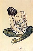 Seated Woman with Green Stockings, 1918, schiele