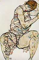 Seated Woman with Her Left Hand in Her Hair, 1914, schiele