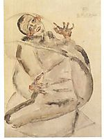 Self-portrait as prisoner, 1912, schiele