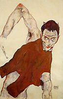 Self portrait in a jerkin with right elbow raised, 1914, schiele