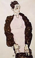 Self Portrait in Lavender and Dark Suit, Standing, 1914, schiele