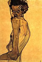 Self Portrait with Arm Twisting above Head, 1910, schiele