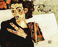 Self-Portrait with Black Vase and Spread Fingers, 1911, schiele