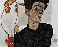 Self-Portrait with Chinese lantern fruits, 1912, schiele