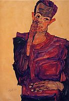 Self Portrait with Hand to Cheek, 1910, schiele