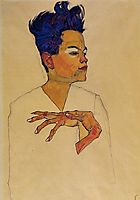 Self Portrait with Hands on Chest, 1910, schiele